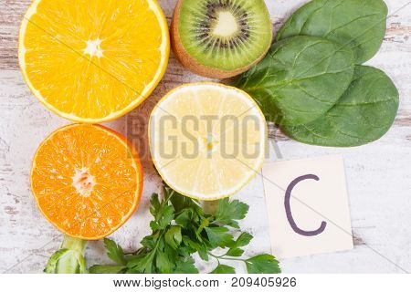 Fruits And Vegetables As Sources Vitamin C, Fiber And Minerals, Strengthening Immunity Concept