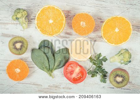 Vintage Photo, Fruits And Vegetables As Sources Vitamin C, Fiber And Minerals, Strengthening Immunit