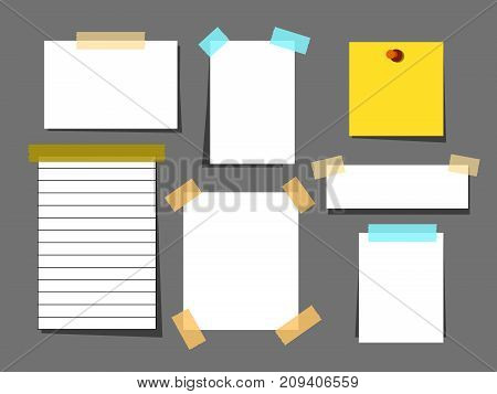 Blank paper torn page notes isolated on grey background. Collection of template paper sticker. White paper sheets with scotch tape set.Sheet page for reminder message. illustration