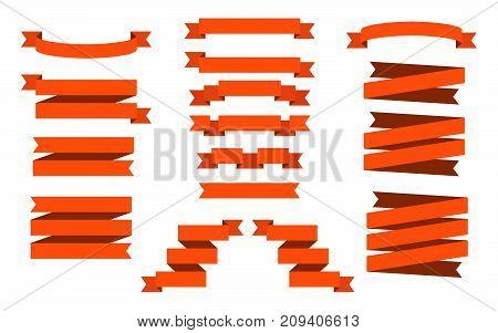 Red Web Ribbons Set isolated on white background,  Illustration