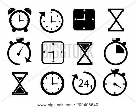 Time and Clock icons on white background. Clock, time, chronometer.  illustration