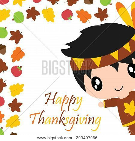 Cute Indian boy, maple leaves and apple border vector cartoon illustration for thanksgiving's day card design, wallpaper and greeting card