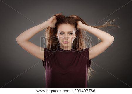Glamorous Stunning Woman With Waving Hair.