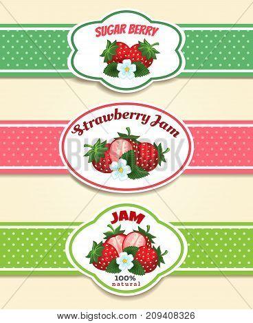 Strawberry fruit label set. Strawberries marmelade or jam retro emblems vector illustration
