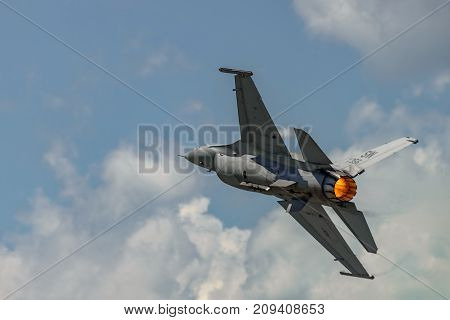 NEW WINDSOR NY - JULY 2 2017: The evolution of F 16 Falcon from Stewart International Airport during the New York Airshow.