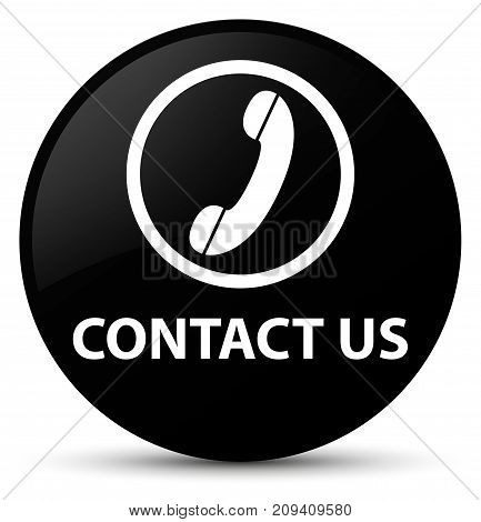 Contact Us (phone Icon) Black Round Button