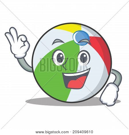 Okay ball character cartoon style vector illustration