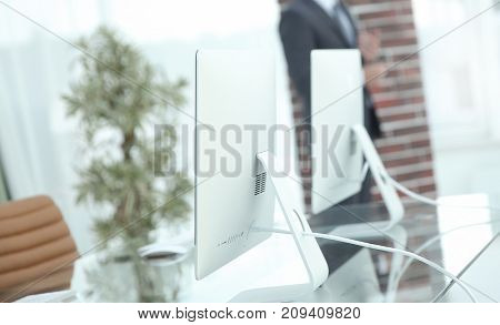 Blurred image of a workplace in the office. business background.