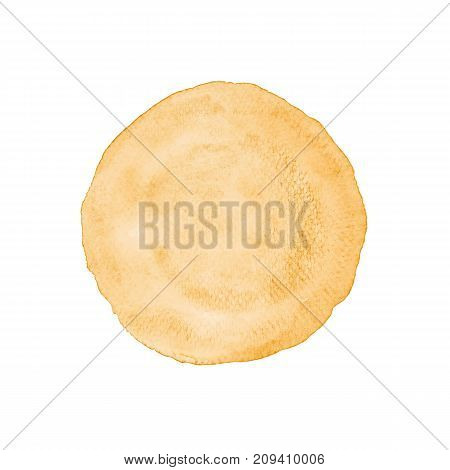Brown circle shape watercolor painting textured on white paper isolated on white background Autumn fall holiday season background