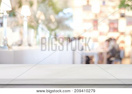 Empty white marble over blur cafe background product and food display montage
