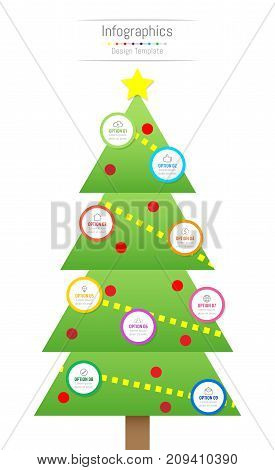 Infographic design elements for your business data with 9 options parts steps timelines or processes. Christmas tree concept Vector Illustration.