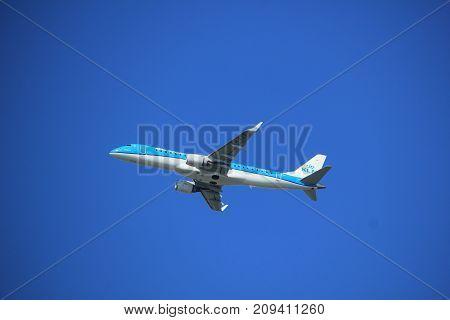 Amsterdam the Netherlands - September 23rd 2017: PH-EZF KLM Cityhopper Embraer ERJ-190STD takeoff from Kaagbaan runway Amsterdam Airport Schiphol
