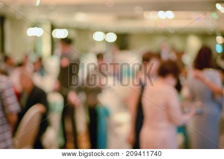 Abstract blurred of wedding ceremony in convention hall