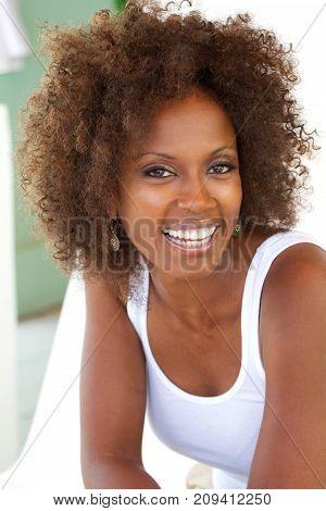 Portarit of a beautiful mature woman smiling.