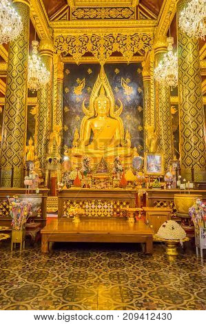 Phitsanulok Thailand - August 9 2017: Beautiful Buddha image in Buddhist church where is travel destination for Buddist tourists to worship Buddha image in Phitsanulok Thailand.