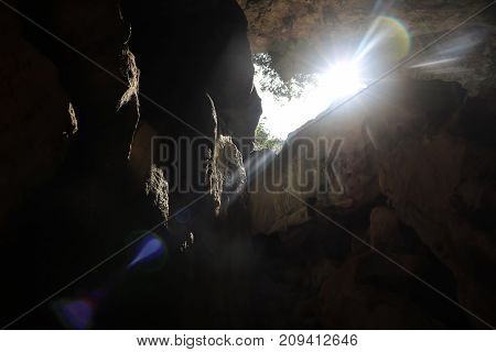 Beautiful Lens flare in the limestone caves in Thailand.