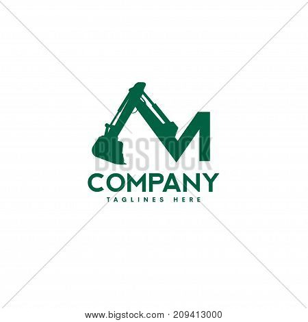 letter M Excavators Construction machinery logo, Special equipment, Excavators, crane, Logo Flat style