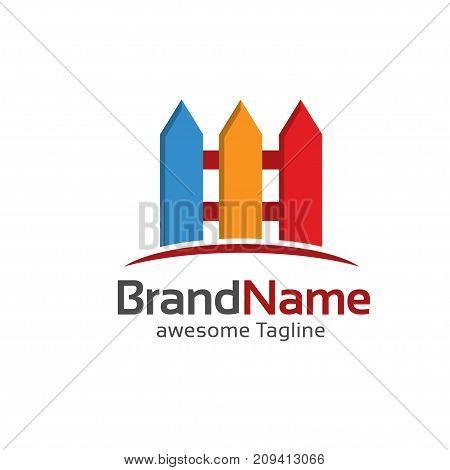 fence creative colorful symbol concept, Home and garden decoration logo