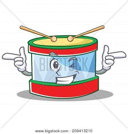 Wink toy drum character cartoon vector illustration