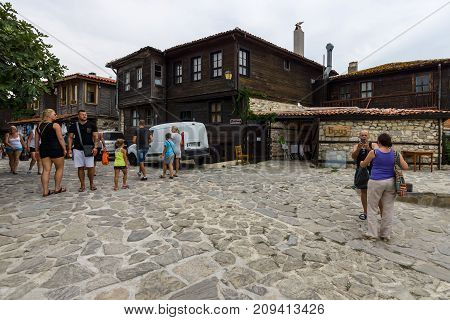 NESEBAR BULGARIA - AUGUST 21 2017: Typical houses and streets in the UNESCO World Heritage town of Nesebar. Nesebar is an ancient city and one of the major seaside resorts on the Bulgarian Black Sea Coast.