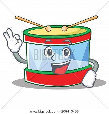 Okay toy drum character cartoon vector illustration