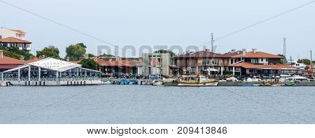 NESEBAR BULGARIA - AUGUST 21 2017: View of the old town and the seaport. Nesebar is an ancient city and one of the major seaside resorts on the Bulgarian Black Sea Coast.