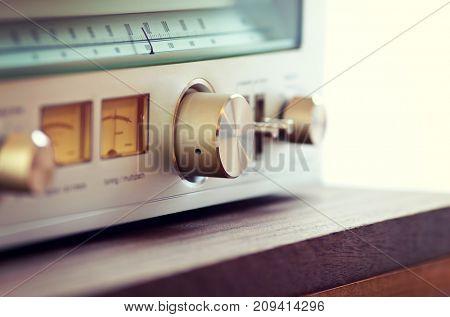 Vintage Radio Tuner Shiny Metal Tuning Knob angled view