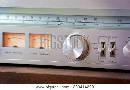 Vintage Radio Tuner Shiny Metal Tuning Knob front view