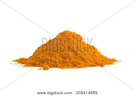 Turmeric Curcuma powder isolated on white background. Curry powder