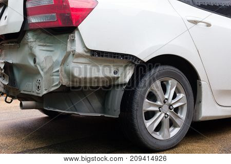 Close Up Back White City Car After Accident.