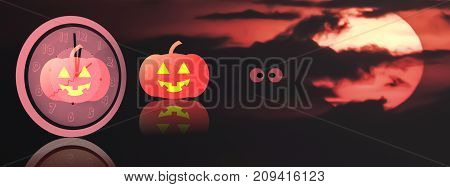 Midnight Halloween background with copy space and red blood sky.