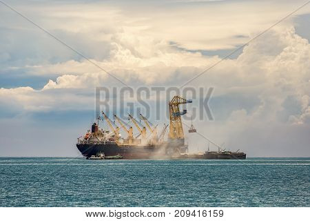 Cargo ship in the Trade Port , Container , Shipping , Logistics , Transportation Systems