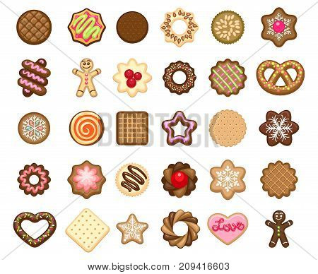 Christmas cookies icons and xmas biscuits desserts vector illustration. Tasty homemade holiday cookies bakery products