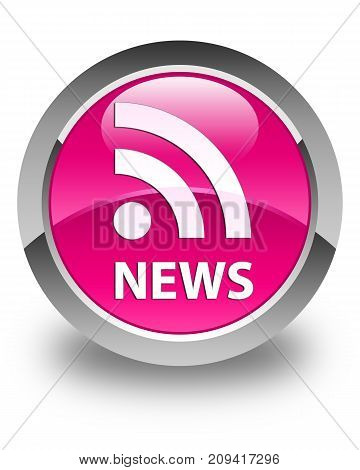 News (rss Icon) Glossy Pink Round Button