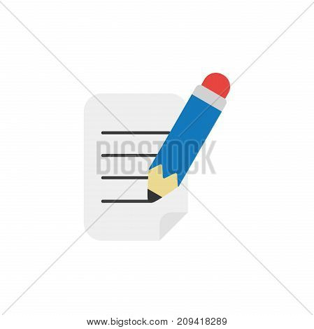 Flat Design Style Vector Concept Of Writing Paper With Pen