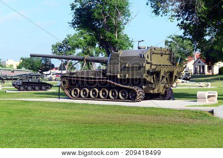 Fort Sill Oklahoma - May 2016 US Army Field Artillery Museum outdoor display.