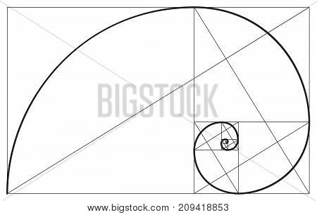 Vector golden ratio. Fibonacci ideal proportion sections, divinity and eternity spiral symbol poster