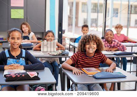 Portrait of elementary school pupils sitting at their desks