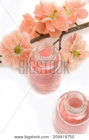 Spa composition with cherry flower with bottle oil