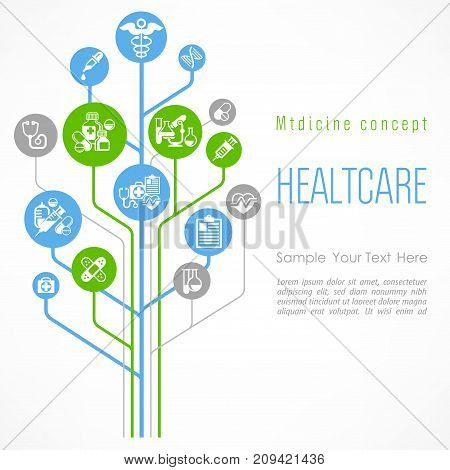 Medical outline concept poster medicine symbol and hospital unit relationship vector illustration