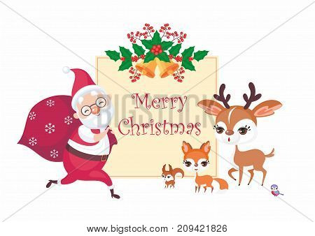 Christmas greeting card with the image of Santa Claus and woodland animals. Vector background.