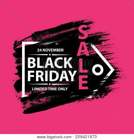 Black Friday Sale grunge poster with tag frame. Black friday banners with grunge brush on pink background. Vector illustration