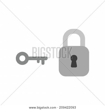 Flat Design Style Vector Concept Of Grey Key And Closed Locked Padlock