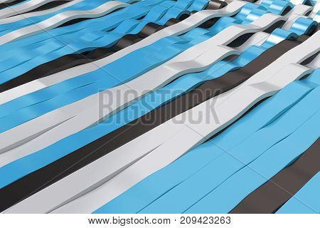Abstract 3D Rendering Of Black, White And Blue Sine Waves