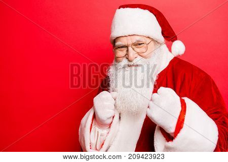 Festive Sporty Grandfather With Fists. Newyear Fight, Fit, Boxer, Boxing, Athlete, Strength, Attack,