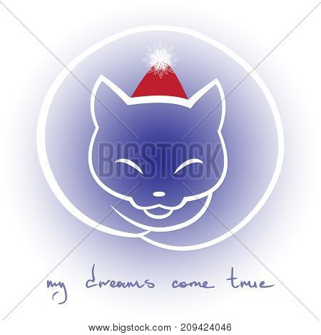 My dreams come true. Xmas inspirational quote. Cat in christmas hat. Vector illustration.