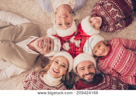 High Angle Portrait Of Six Cheerful Beautiful Relatives On Carpet, Married Couples, Excited Siblings