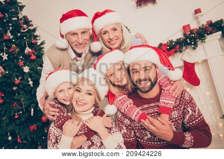 Six Beautiful Caucasian Relatives Embrace, Married Couples, Excited Siblings, Grandad, Granny, In Kn
