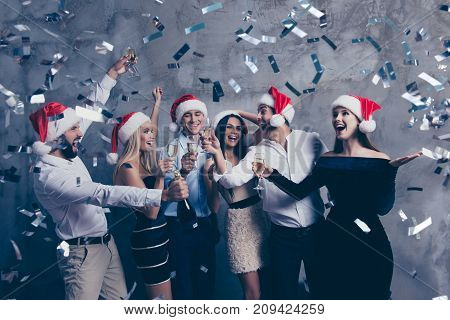 Chilling Group Of Jet Set In Luxury Outfits, Shirts, X Mas Headwear, Rich, Wealth, Laughing, Cheerfu