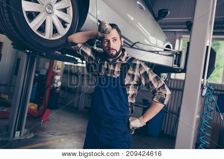 Well Done! Dreamy Attractive Pensive Ponder Caucasian Bearded Brunet Craftsman, Handyman In Special
